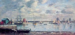 Eugène Boudin: Camaret, lodě v přístavu (1871–1873, olej na plátně)