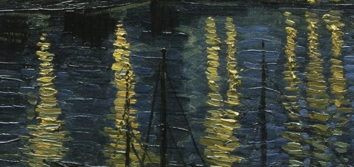 Vincent van Gogh: Hvězdná noc nad Rhônou (1888, olej na plátně, detail)