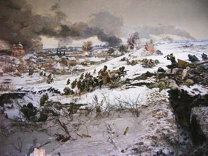 Boj v Sokolovu (V. Mokrožický, V. Parčevský, I. Jefroimson a absolventi Charkovské malířské školy, Muzeum v Sokolovu)