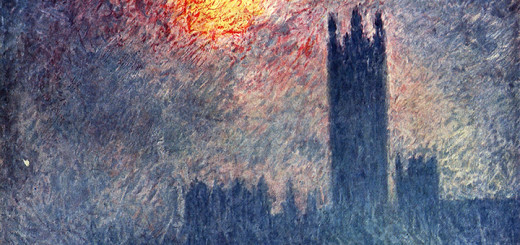 Claude Monet: Slunce deroucí se mlhou, z cyklu Budovy Parlamentu, Londýn (1904, Musée d'Orsay, Paříž)