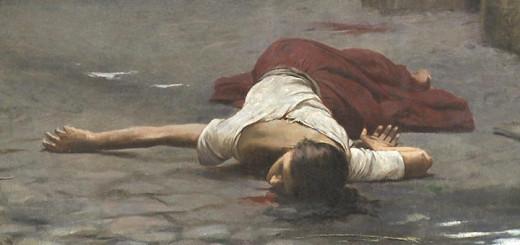 Jakub Schikaneder: Vražda v domě (1890, detail)