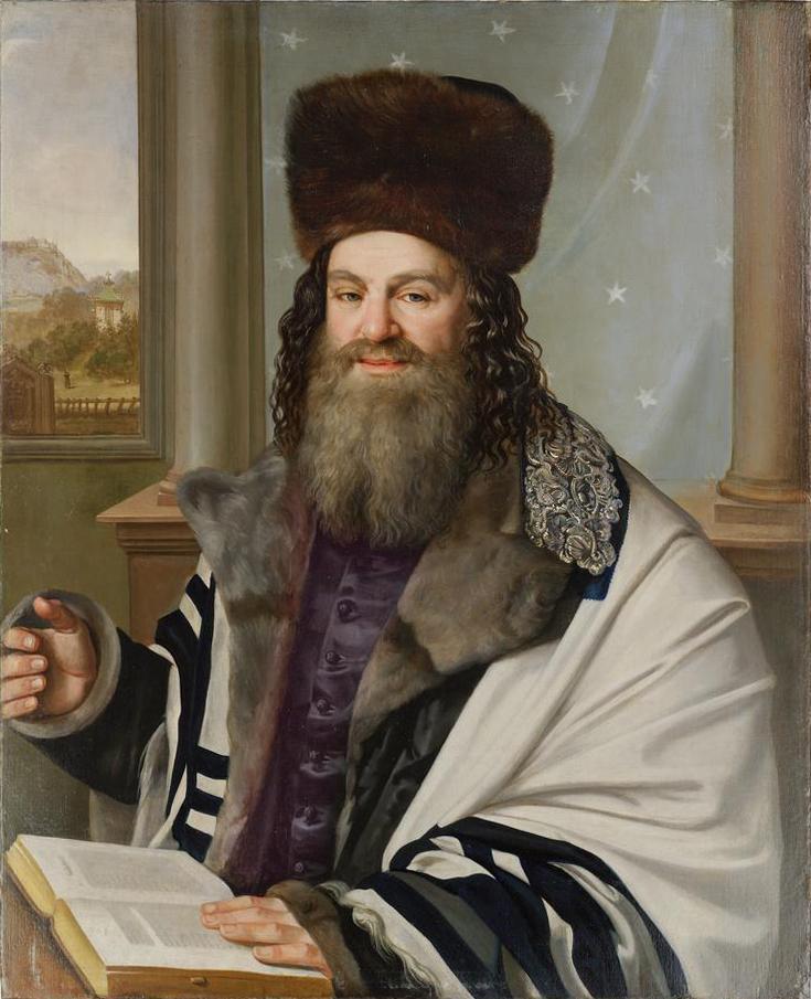 Pražský vrchní rabín Šelomo Jehuda Lejb Rapoport (1790–1867) v letech 1840–1842 (obraz: Antonín Machek)