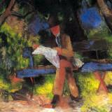 Čtoucí muž v parku (August Macke, 1914, Museum Ludwig, Kolín nad Rýnem)