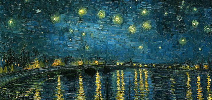 Vincent van Gogh: Hvězdná noc nad Rhônou (1888, Muzeum d'Orsay, Paříž, detail)