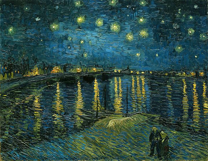 Vincent van Gogh: Hvězdná noc nad Rhônou (1888, Muzeum d'Orsay, Paříž)