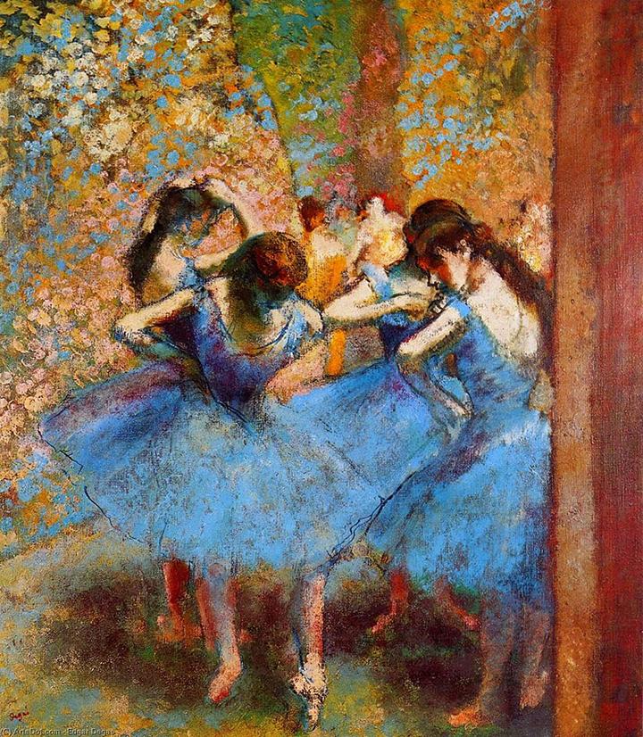 Edgar Degas: Baletky v modrém (1890, muzeum d'Orsay, Paříž)