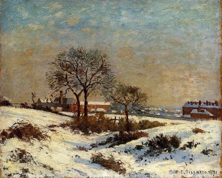 Camille Pissarro: Krajina pod sněhem, Horní Norwood (1871)